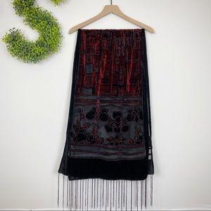 Accessories - 🌿 Red Black Velvet Fringe Floral Shoulder Wrap